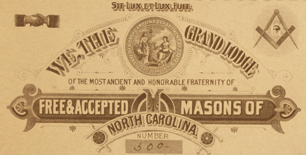 Charter Members of Raleigh Lodge No. 500, 1899-1900