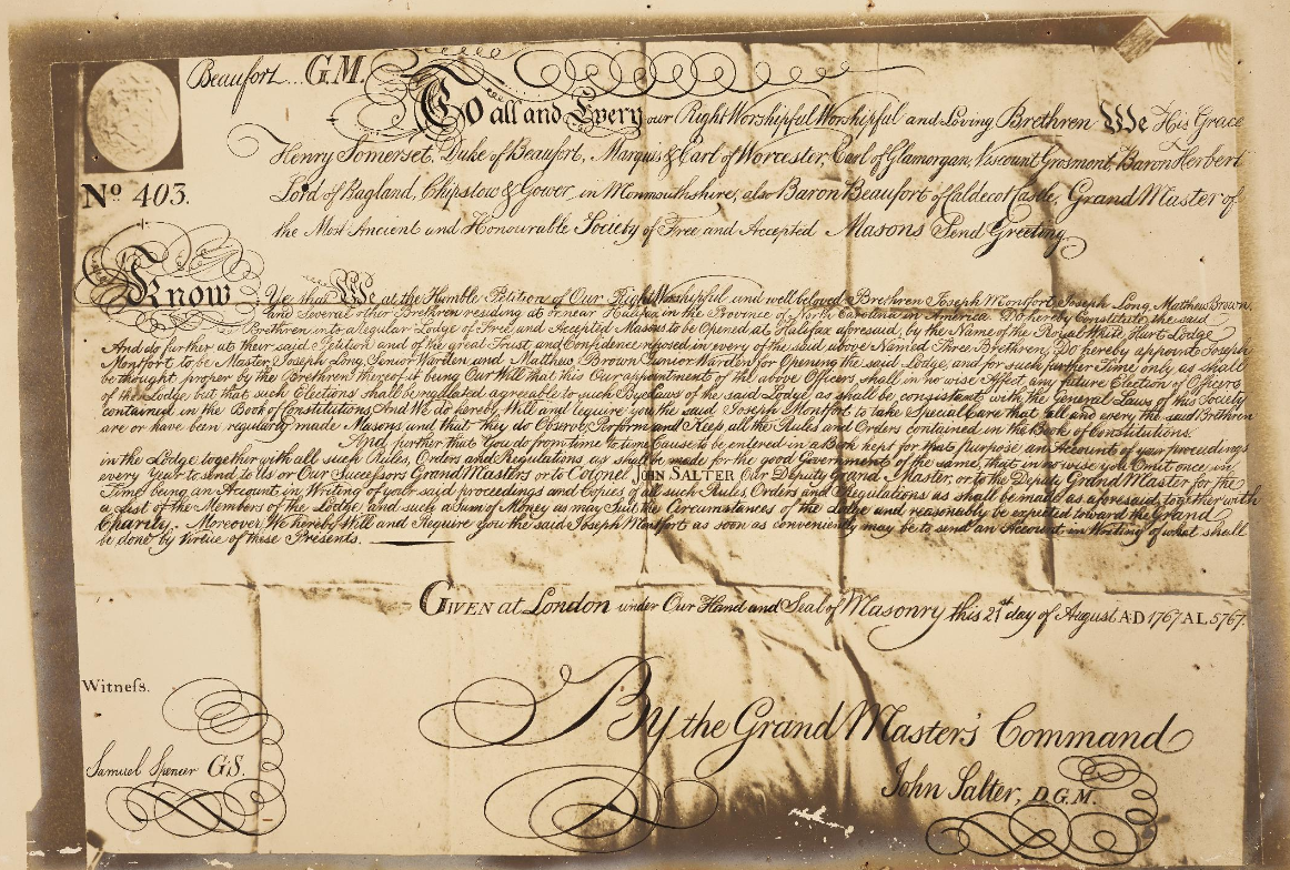 Charter of Royal White Hart Lodge No. 403, August 21, 1767