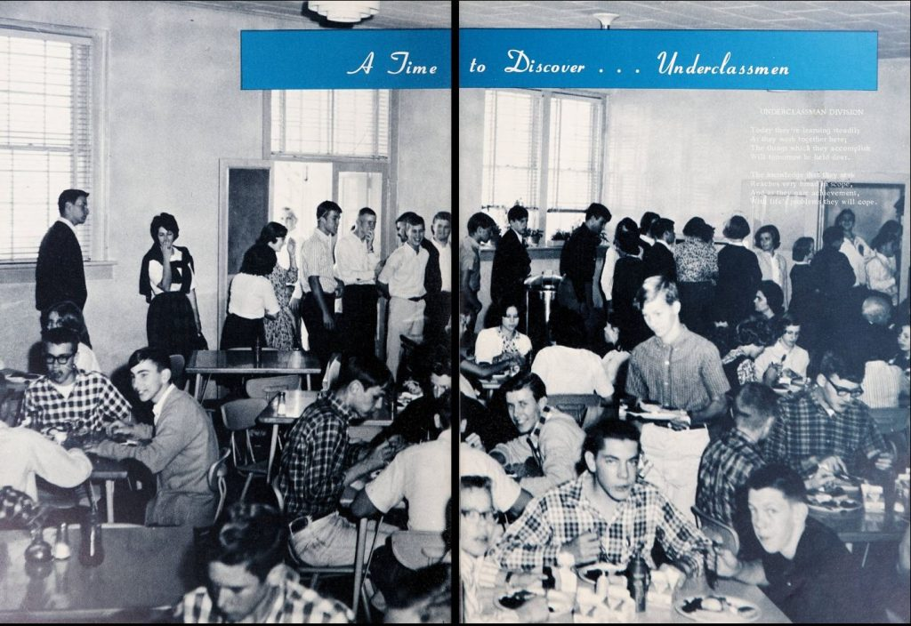 Black and white photograph of the lunch room at Pittsboro High School in 1965