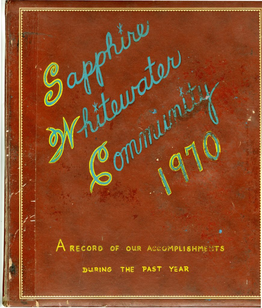 Brown cover of the 1970 Sapphire Whitewater Community Scrapbook with the title in script