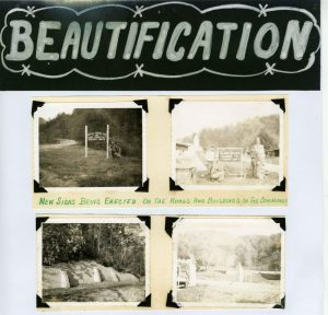 "scrapbook page with four snapshots of signs around town and ""Beautification"" written at the top"