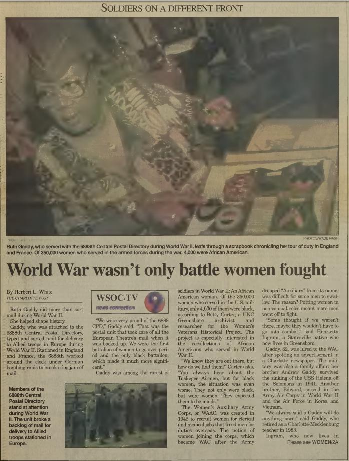 """""""World War wasn't only battle women fought,"""" May 25, 2000"""