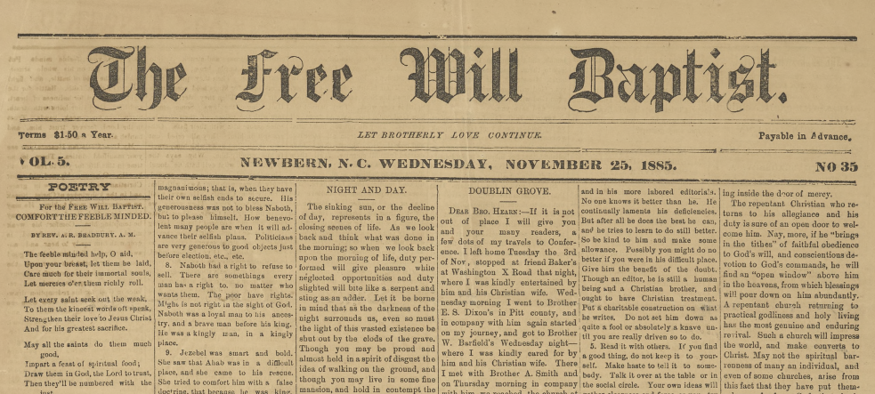 Front page of The Free Will Baptist Newspaper; Vol 5, Issue 35
