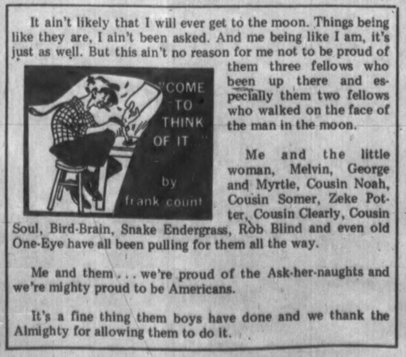 cartoon of a man sitting at a desk and a short column about pride in the moon landing