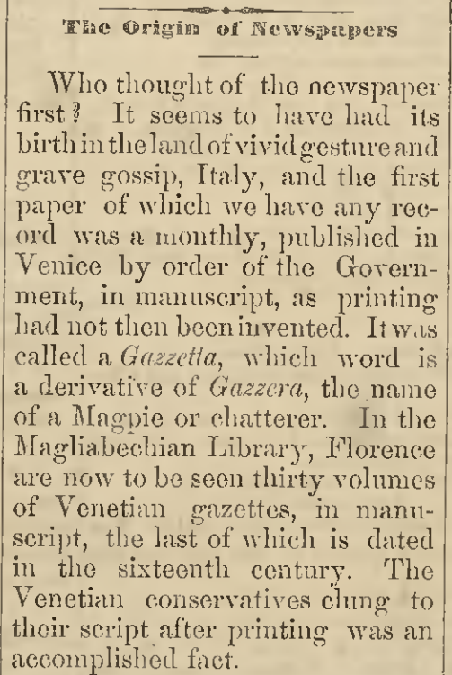 """The Origin of Newspapers,"" The Children's Friend, May 5, 1875"