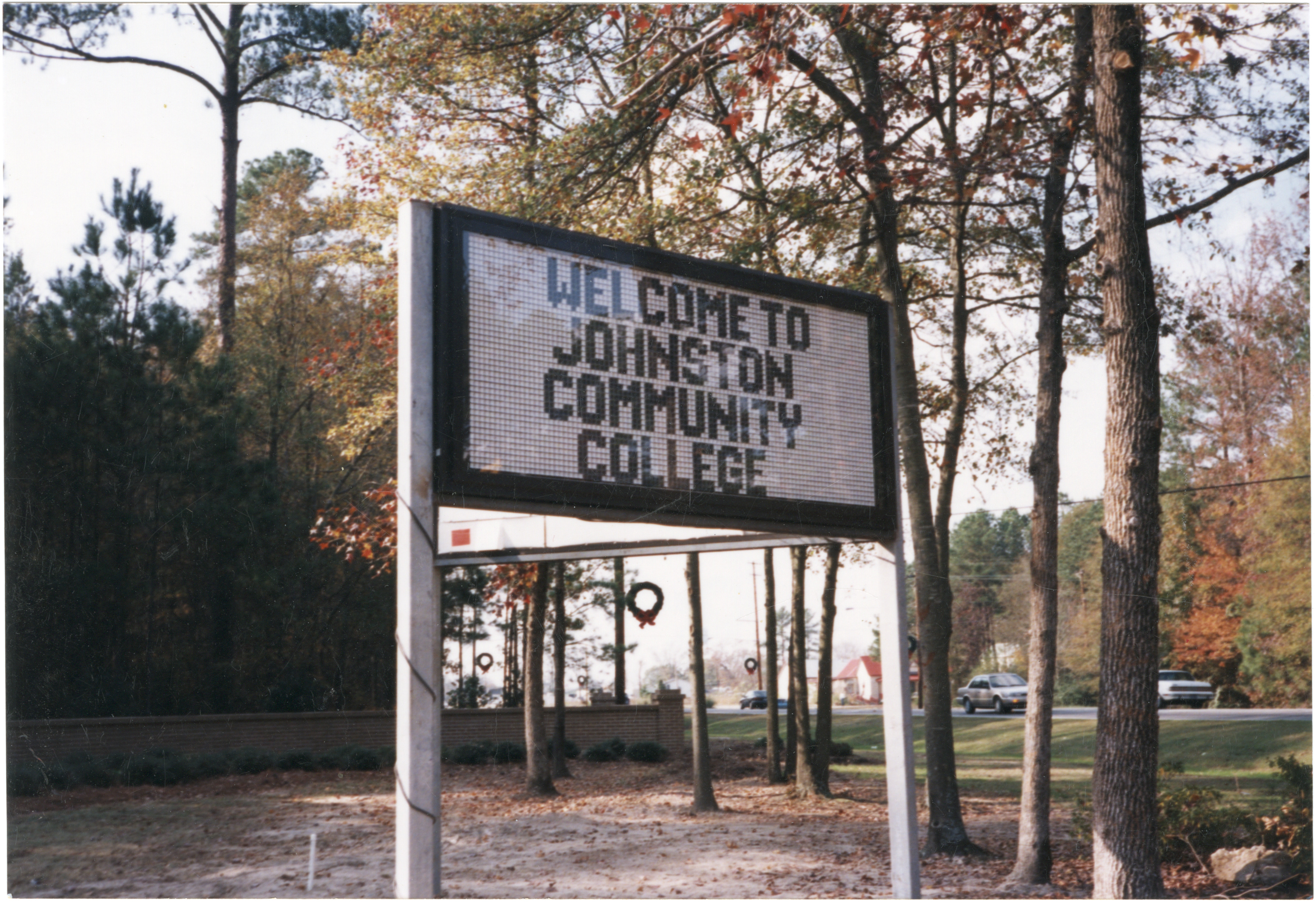 Electronic welcome sign, Johnston Community College, 1985