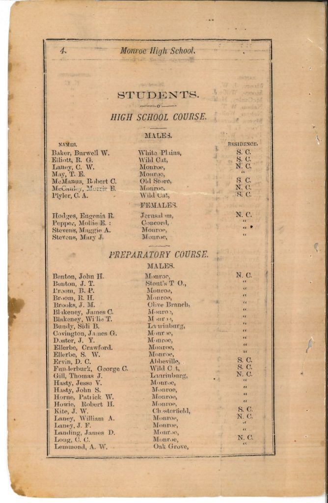 page listing the students enrolled at Monroe High School