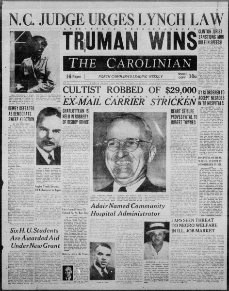 Front page of The Carolinian newspaper from November 06, 1948, declaring Truman Wins.
