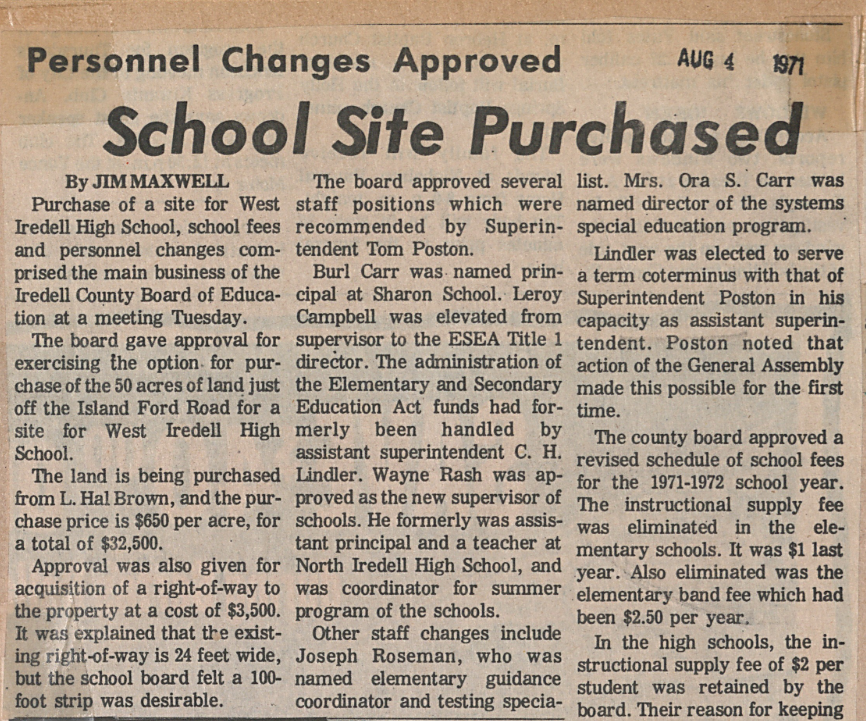 """School Site Purchased,"" August 1971"