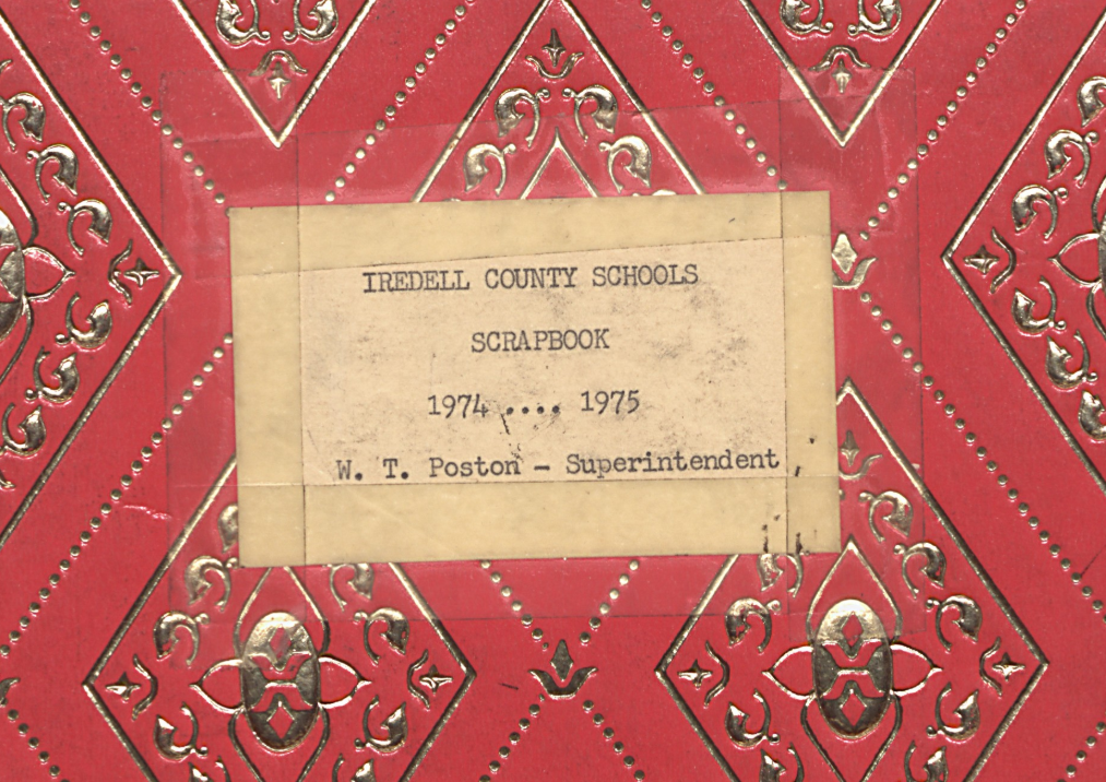 Label of the 1974-1975 Iredell County Schools Scrapbook