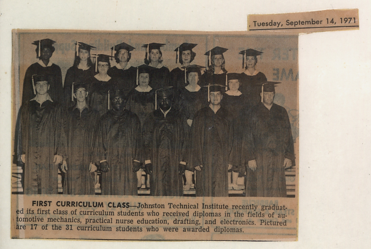 First class of curriculum students, September 1971 clipping in the 1969-1972 scrapbook