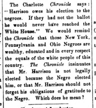 A snippet from the November 24, 1888 issue of the Messenger, commenting on the Charlotte Chronicle newspaper.