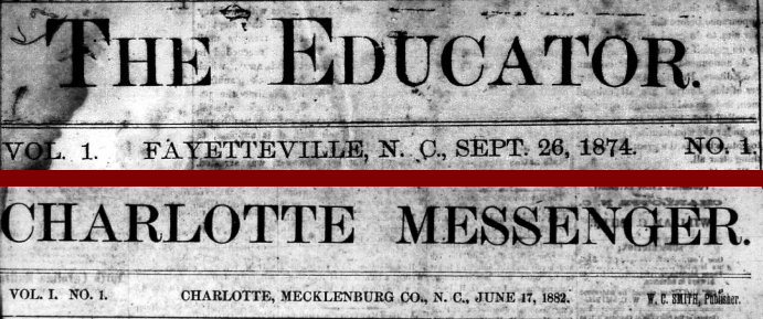 Mastheads for the first issues of the Educator and Messenger