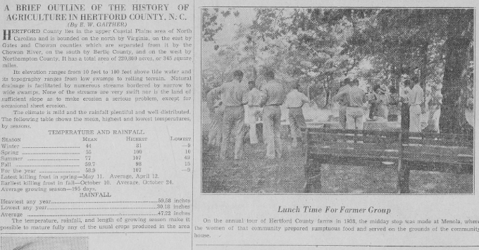 Clipping of Hertford County Herald newspaper describing the history of agriculture in Hertford County, N.C.