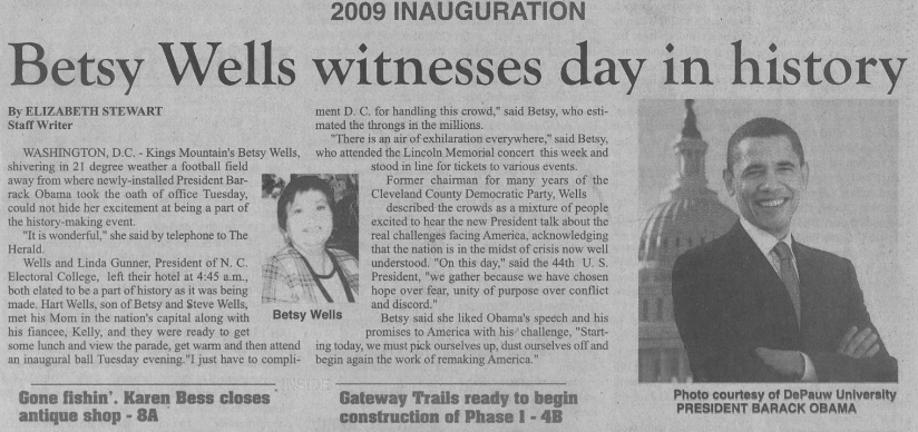 Article on Betsy Wells attending the inauguration of President Obama in 2009.