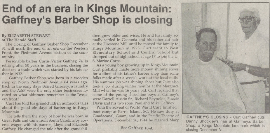Article on closure of local barber shop in 1996.