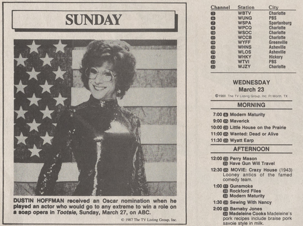 TV listings for Charlotte area stations in 1988.