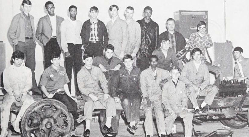 Photo of VICA auto mechanics club members at Kings Mountain High School in 1968.
