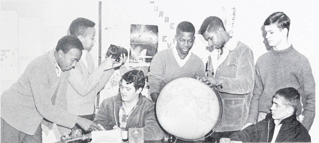 Photo of Aerospace club members at Kings Mountain High School in 1967.