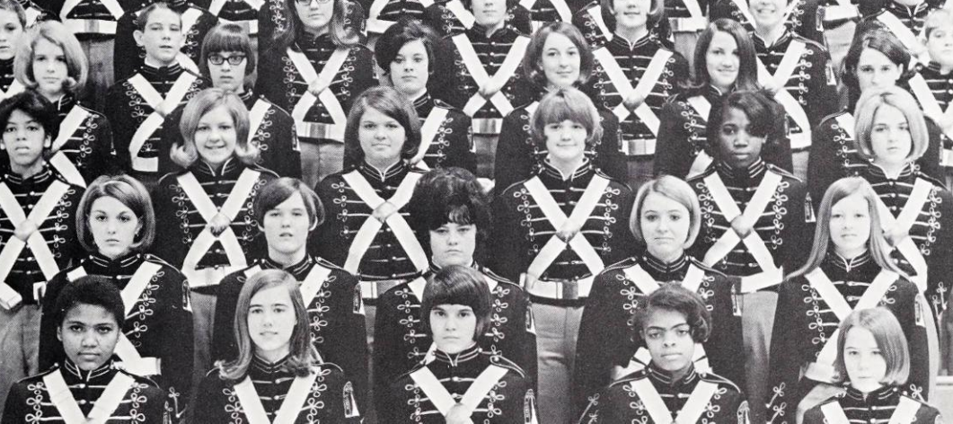 Photo of freshman band members in uniform at Kings Mountain High School in 1969.