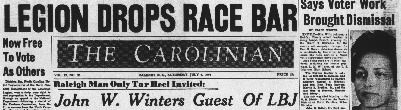 Masthead for The Carolinian with headlining articles for July 4th, 1964.