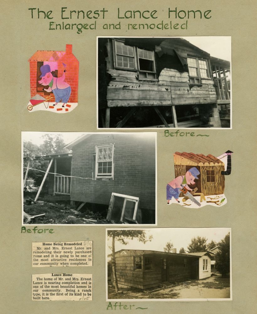 Scrapbook page with three black and white photographs and several clippings describing remodeled Ernest Lance home