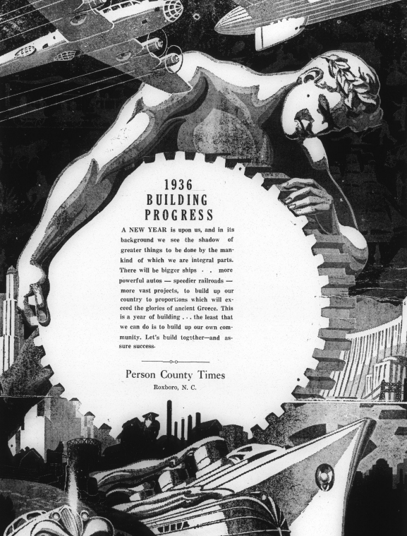 Example of Art Deco advertisement for the Person County Times.