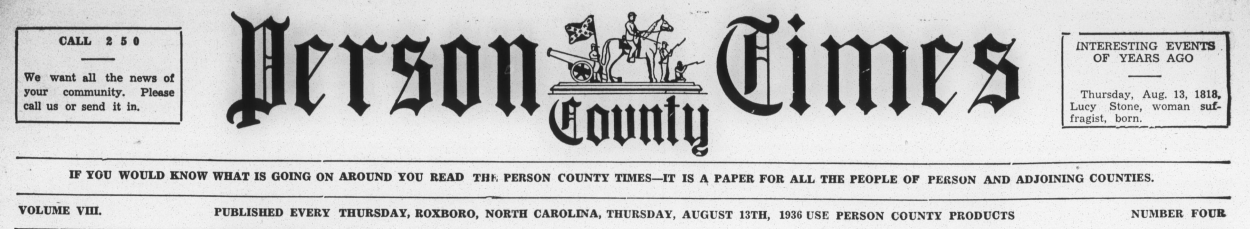 Masthead of the Person County Times.