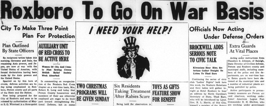 World War II headlines in the Person County Times, including an action plan for Roxboro.