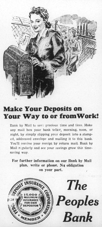 Advertisement for The Peoples Bank focusing on the new influx of women in the job market.