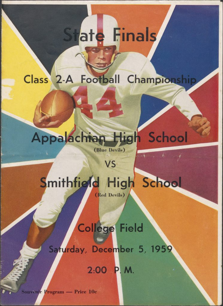 Colorful football program cover with drawing of running football player