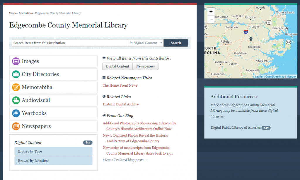Screenshot of Edgecombe County Memorial Library's landing page, with links to parts of their collection and a map showing their location