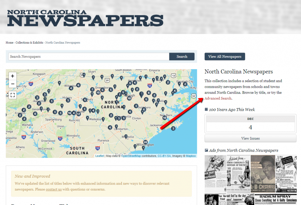 "Screenshot of the newspapers landing page with a red arrow pointing to a link that says ""Advanced Search"""