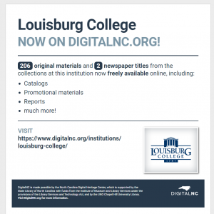 Screenshot of a handout announcing 206 materials and 2 newspaper titles on DigitalNC from Louisburg College