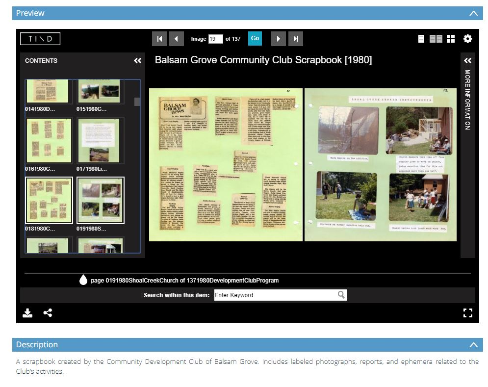 Screenshot of a scrapbook in a content management system