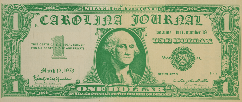 Masthead for The Journal, utilizing the image of a dollar bill but filling the text with issue information.