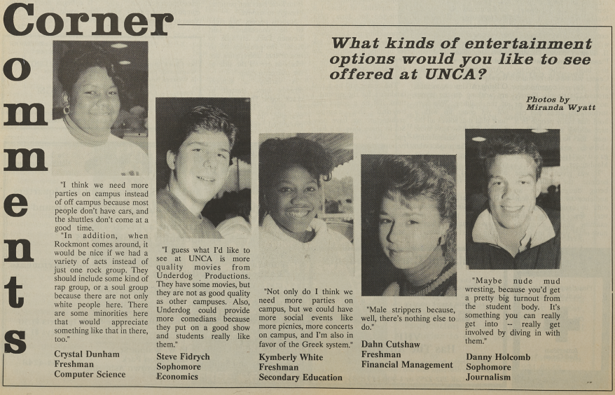 "A section of The Blue Banner titled ""Corner Comments"" in which 5 students give their opinions on the topic ""What kinds of entertainment options would you like to see offered at UNCA?""."