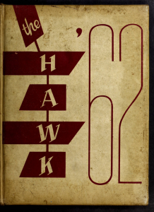 Red and beige yearbook cover with title The Hawk 62