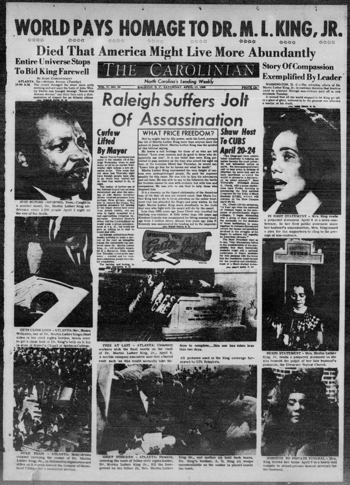 April 13, 1968 front page of The Carolinian