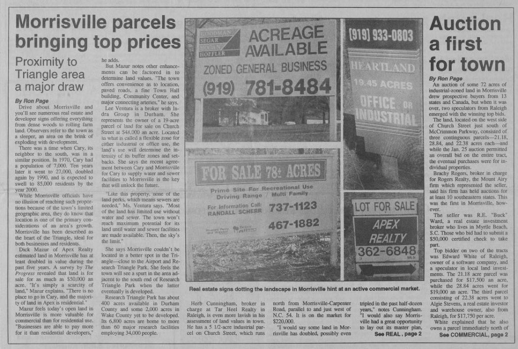 "Newspaper clipping ""Morrisville parcels bring top prices"""