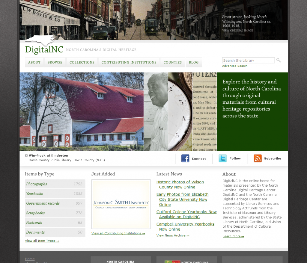 DigitalNC.org home page at launch with numerous historic photographs.