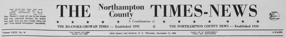 Masthead for The Northampton County Times-News.
