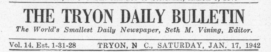Masthead for The Tryon Daily Bulletin.