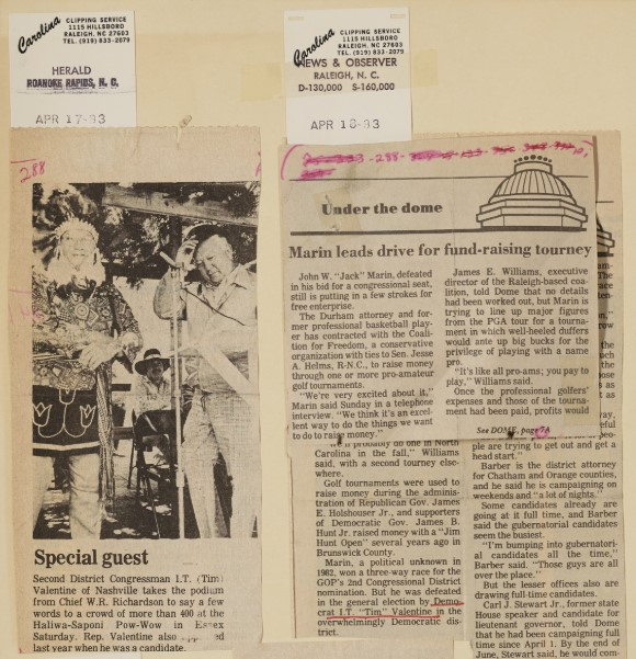 Image of a clippings from a scrapbook covering other clippings.