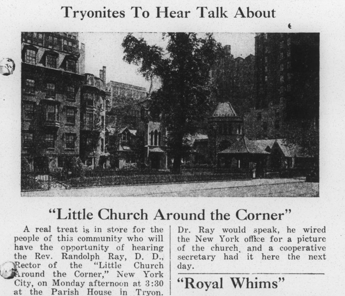 "Article titled ""Little Church Around the Corner"" featuring a photo of the Women's Auxiliary Church of the Holy Cross in Tryon, N.C."