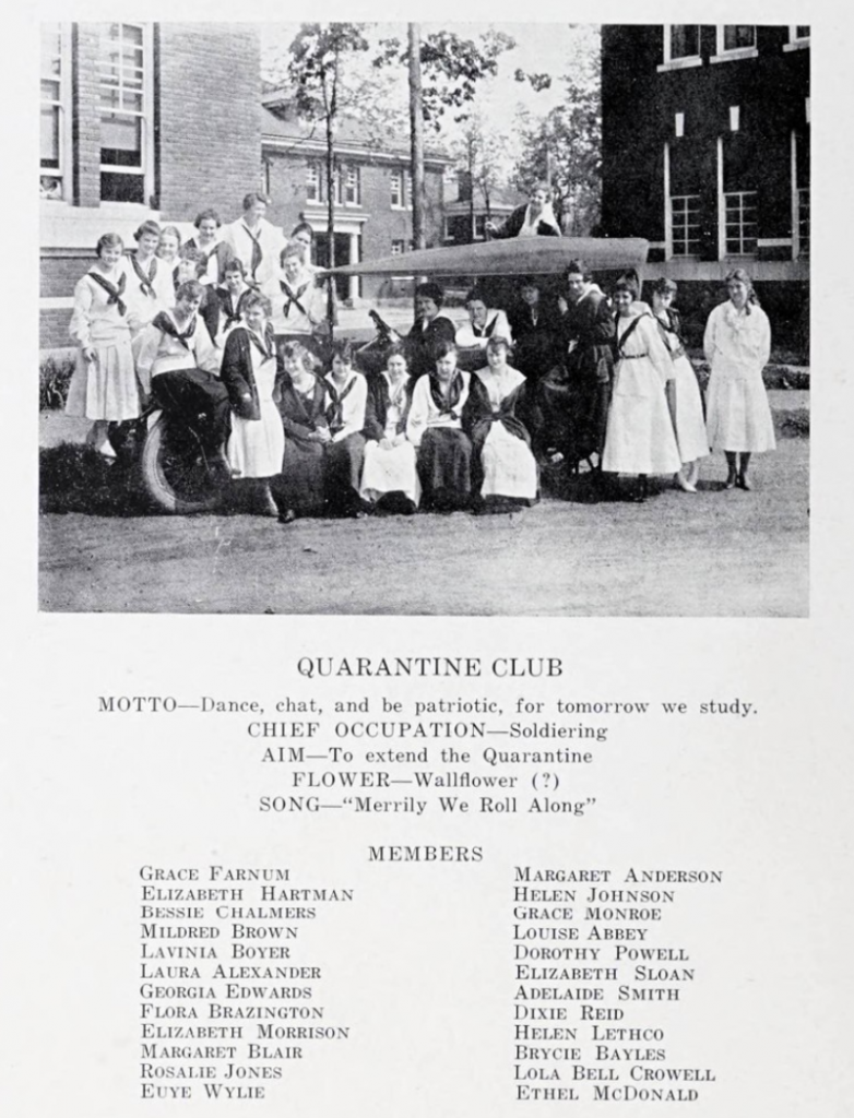 "A page from the 1918 Queens College yearbook showcasing a photo and member list of the ""Quarantine Club"""