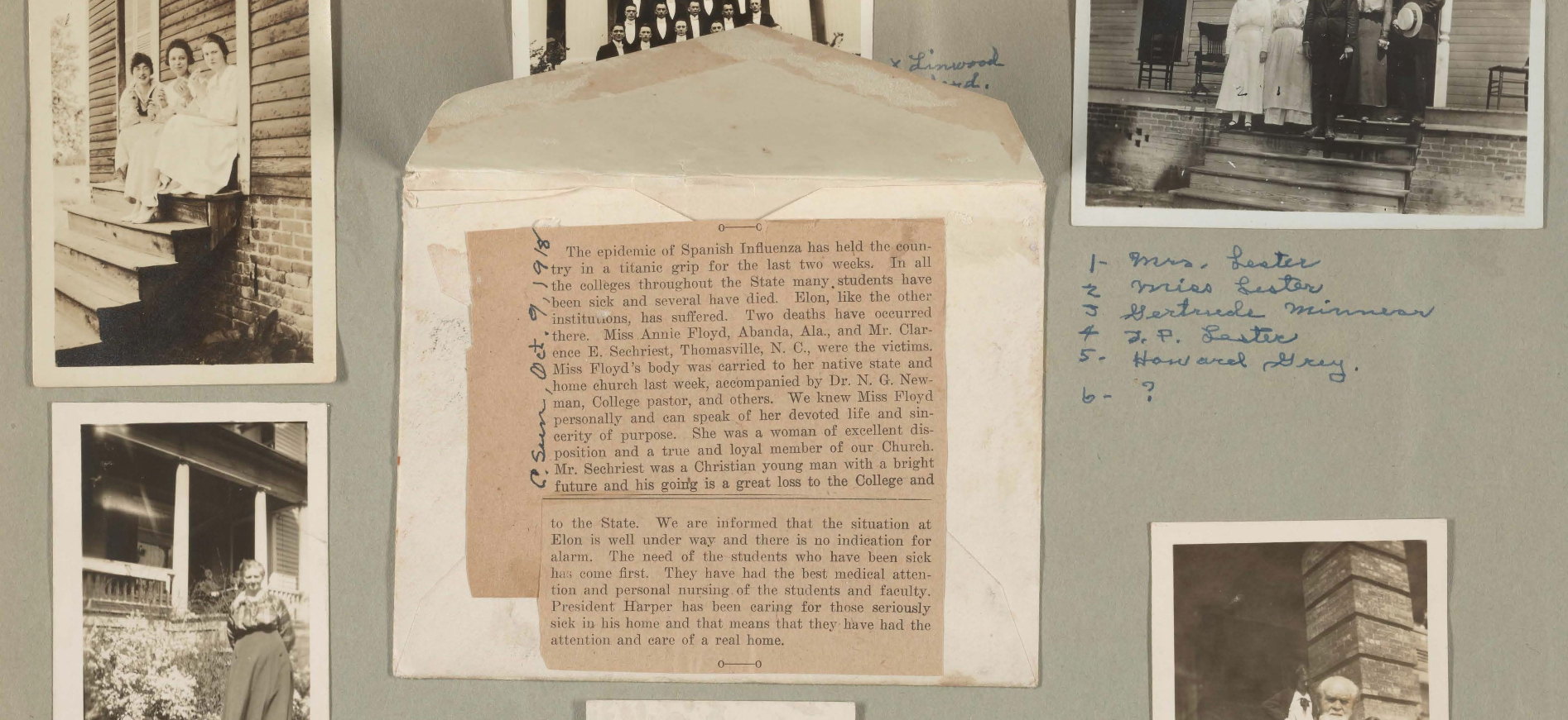 A section of Annie Gordon Floyd's scrapbook. She was a student at Elon College during the 1918 Influenza Pandemic and created a page in her scrapbook using a clipping from a newspaper describing influenza related deaths of classmates.