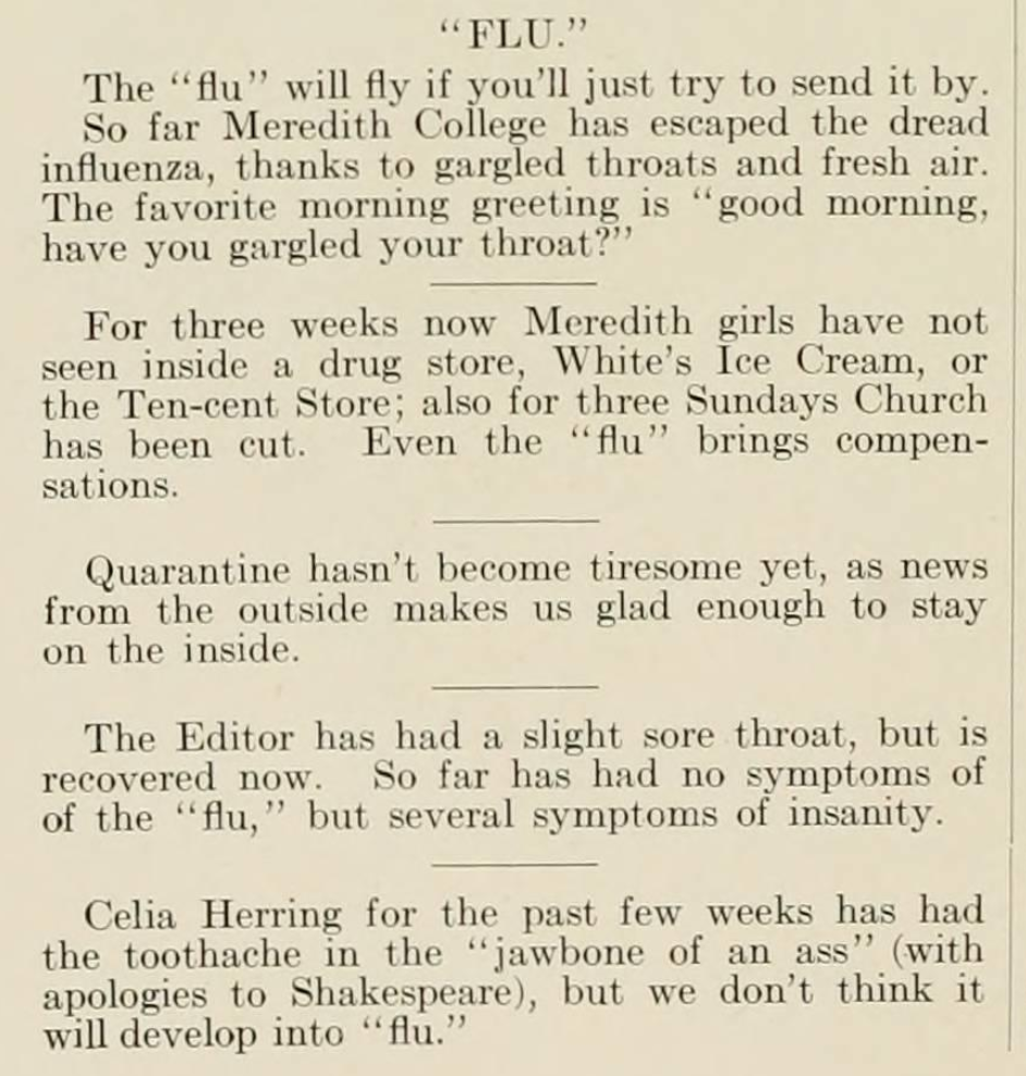 "Portion of the ""Meredith News and Distributor"" in the Meredith College 1919 Oak Leaves yearbook. The section is titled ""flu"" and lists influenza related jokes."