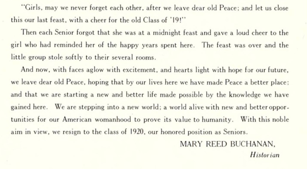 "Clipping of the 1919 The Lotus yearbook's ""Senior Class History"" describing the joys of returning to life after quarantine during the 1918 Influenza Pandemic."
