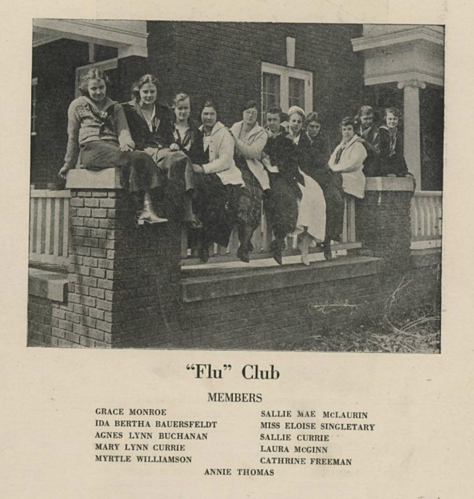 "Photo of the ""Flu"" Club members as well as their names in the 1920 Queens University of Charlotte yearbook ""Wise and Otherwise""."